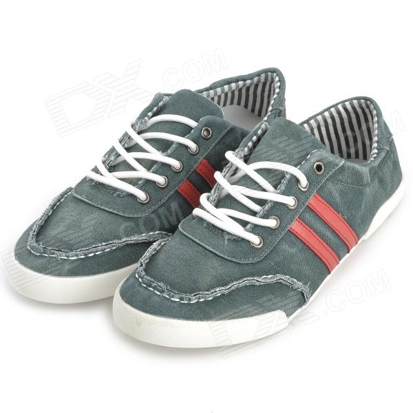 Washed Denim Shoes for Men - White + Green + Red (Size 42)