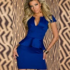 LC2774-4 Women's Stylish Sexy Short-Sleeve V-Neck OL Peplum Dress - Blue (Size M)