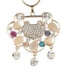 Retro Elegant Love Lock Pendant Zinc Alloy Women's Necklace - Golden + Cracker Khaki + Transprent