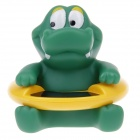 Cute Crocodile Style Baby Bath Water Thermometer - Green + Yellow