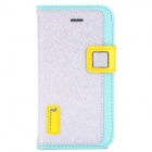 Hello Deere Stylish PU Leather Flip-Open Stand Case for Iphone 4 / 4S - Silver + Blue + Yellow