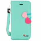 HELLO DEERE Flip-Open PU Leather Stand Case for Iphone 5 - Mint Green