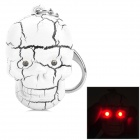 Skull Style 2-LED Red Lighting Keychain w/ Voice - White + Black (3 x AG10)