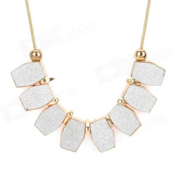 SHIYING Woman's Stylish Hexagon Shaped Matte Style Pendant Zinc Alloy Necklace - Golden + Silver shiying women s retro leaf style zinc alloy pendant necklace silver black multi color