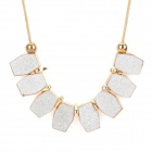 SHIYING Woman's Stylish Hexagon Shaped Matte Style Pendant Zinc Alloy Necklace - Golden + Silver