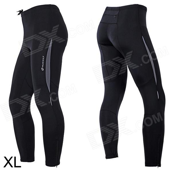 NUCKILY ZM096 Elastic Fiber Sports Cycling Trousers for Men - Black (Size-XL) fashion men s clothing print jeans male slim elastic colored drawing personality trousers flower trousers