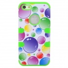 Bubbles Style Protective ABS + Silicone Case for Iphone 5 - Green + Purple + Blue