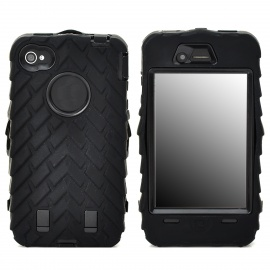 Detachable Protective Silicone + PC Case for Iphone 4 / 4S - Black