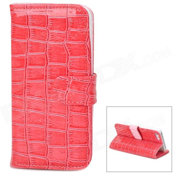 Crocodile Skin Style Protective PU Leather Case for Iphone 5 - Deep Pink silk style protective pu leather plastic case for iphone 4 4s deep pink