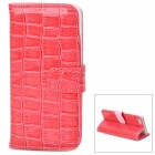 Crocodile Skin Style Protective PU Leather Case for Iphone 5 - Deep Pink