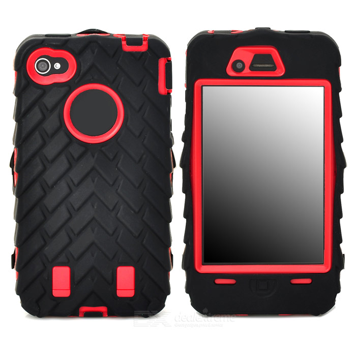 все цены на Detachable Protective Silicone + PC Case for Iphone 4 / 4S - Black + Red онлайн