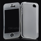 Protective TPU Case w/ Flip-Open Cover / Anti-Dust Cover for Iphone 4 / 4S - White