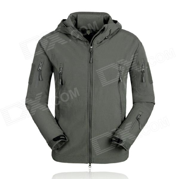 ESDY ESDY-0001 Outdoor Sports Waterproof Polyester + Fleece Jacket for Men - Deep Grey (XXL)