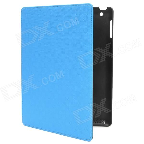 Multi-Function PU Leather Case w/ Auto Sleep / Vent-Hole / Sound Amplifier for Ipad 2/3/4 - Blue multi function pu leather case vent holes sound amplifier for ipad 3 4 orange