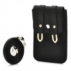 Woven Pattern PU Leather Pouch Bag w/ Shoulder Strap for Iphone / Samsung i9300 / i9500 - Black