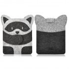 Cute Raccoon Style Protective Inner Bag Pouch for Ipad 2 / 3 / 4 - Grey + Black