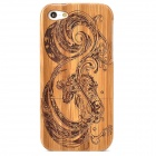 Carp Pattern Detachable Bamboo Back Case for Iphone 5 - Brown + Black