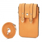 Woven Pattern PU Leather Pouch Bag w/ Shoulder Strap for iPhone / Samsung i9300 / i9500 - Orange