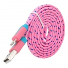 USB to 8-Pin Lightning Data/Charging Nylon Woven Cable for iPhone 5 / iPad 4 / Mini - Pink (100CM)