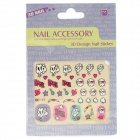 OC-17 3D Cute Patterns Decorative DIY Nail Art Sticker - Multicolored