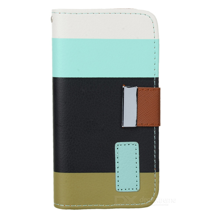 ZS002 Protective PU Leather Case for Iphone 5 - White + Blue + Green protective pu leather bag pouch with for iphone 5 blue white