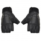 SW3076 Sheepskin War Games Training Half Fingers Gloves - Black (Pair / Size XL)