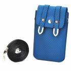 Woven Pattern PU Leather Pouch Bag w/ Shoulder Strap for iPhone / Samsung i9300 / i9500 - Blue