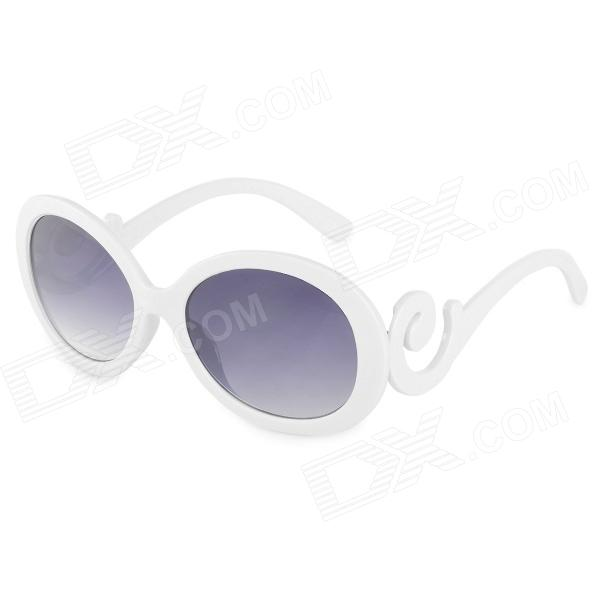 Fashion Women's Resin Lens UV400 Protection Sunglasses - Grey + White fashion uv400 protection round shape resin lens sunglasses wine red