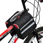 Bicke Bicycle Front Tube Bag w/ Transparent Rainproof Mobile Phone Bag - Black