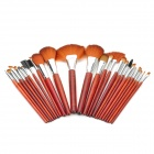 Professional 24-in-1 Animal Hair Cosmetic Makeup Brushes Set w/ Case - Brown + Yellow