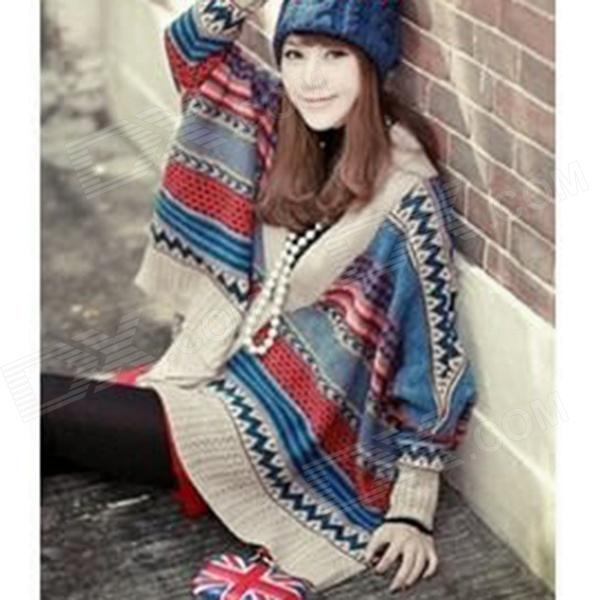 Bohemia Knitted Bat Sweater Coat - Blue + Red + Beige
