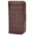 Crocodile Skin Style Protective PU Leather Case for iPhone 4 / 4S - Brown