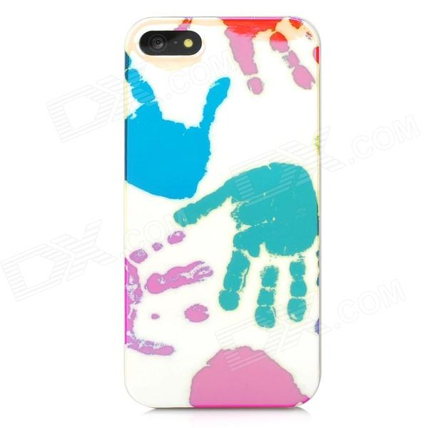 Handprint Style Protective Plastic Back Case for Iphone 5 - Light Yellow + Red + Green + Blue cute girl pattern protective rhinestone decoration back case for iphone 5 light pink light blue
