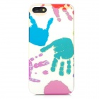Handprint Style Protective Plastic Back Case for Iphone 5 - Light Yellow + Red + Green + Blue