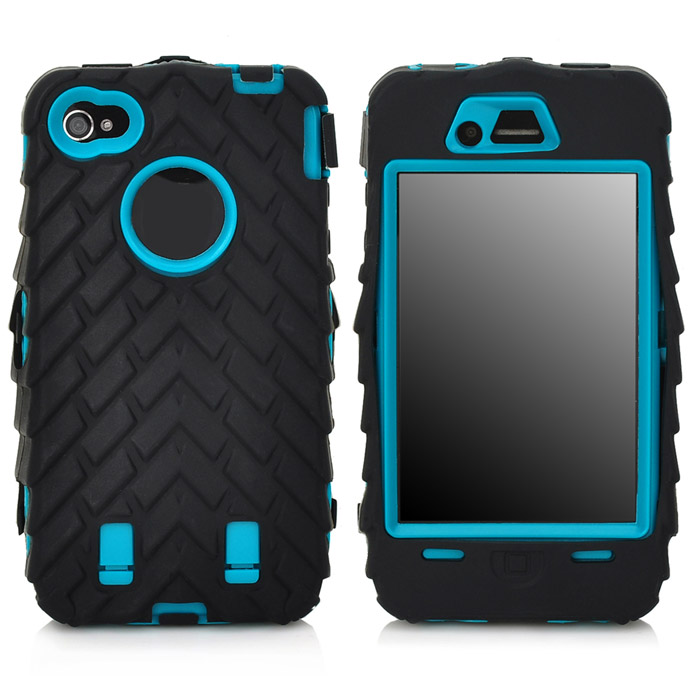 Detachable Protective Silicone + PC Case for Iphone 4 / 4S - Black + Dark Cyan stylish bubble pattern protective silicone abs back case front frame case for iphone 4 4s
