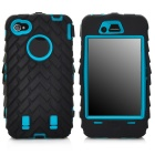 Detachable Protective Silicone + PC Case for Iphone 4 / 4S - Black + Dark Cyan