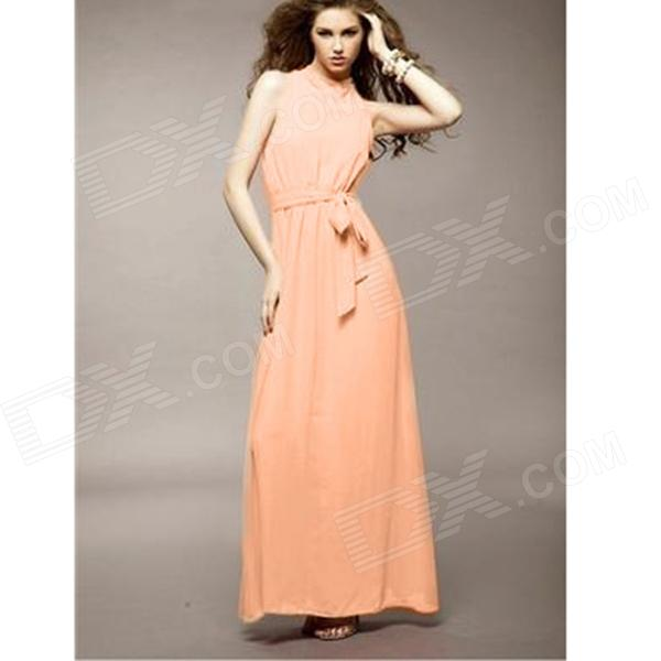 YLY-DXH-406-8807# Elegant Composite Silk Shoulderless Long Dress for Women - Apricot (M)