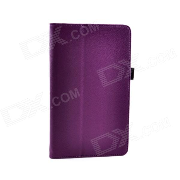 Lichee Pattern Protective PU Leather Case Stand w/ Auto Sleep Cover for Google Nexus 7 II - Purple