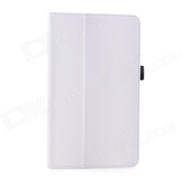 Lichee Pattern Protective PU Leather Case Stand w/ Auto Sleep Cover for Google Nexus 7 II - White