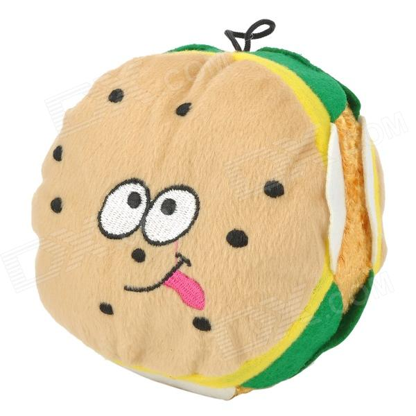 Hamburger Style Short Plush Squeak Toy for Pet Dog - Brown