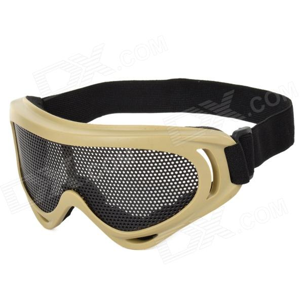 Outdoor Anti-shock Safety Eye Protection Metal Mesh Shield Goggles - Coyote Tan + Black transparent lens anti uv anti shock welding helmet face shield solder mask face eye protect shield anti shock