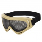 Outdoor Anti-shock Safety Eye Protection Metal Mesh Shield Goggles - Coyote Tan + Black