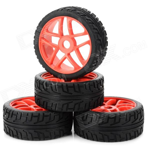 85R-803 Replacement Plastic + Rubber Wheel Tyer for 1/8 Off-road Vehicle - Black + Red (4 PCS) 1 10 rubber on road racing car model replacement tire black 4 pcs