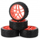 85R-803 Replacement Plastic + Rubber Wheel Tyer for 1/8 Off-road Vehicle - Black + Red (4 PCS)