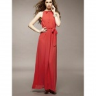 Elegant Off-The-Shoulder Long Dress - Red (Size M)