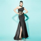 Sexy Slim Fit Lace Splicing Long Evening Dress - Black (Size M)