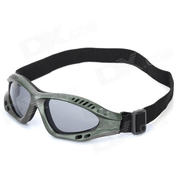 SW3068 Outdoor Tactic Sports / Exercise Protective Goggles - Army Green - DXGoggles<br>Brand N/A Model SW3068 Quantity 1 Color Army green Material PVC + sponge + nylon Certification CE Other Features Lens height: 5.3cm; Lens width: 6.5cm; Overall width: 16.3cm; Nose bridge width: 1.5cm; Anti-impact ; Adjustable elastic strap for ideal fit and provides best comfort for your head; PC lens protect your eyes from sand or rock; Great for outdoor war game or other activities Packing List 1 x Goggle<br>