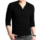 LYT3711 Men's Leisure V Neck Long Sleeves T-shirt - Black (Size XL)