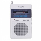 OJADE OE-1202 Mini Portable AM / FM 2-Band Radio - White + Black (2 x AA)