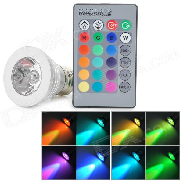 E27 4W 220lm RGB Light LED Bulb w/ Remote Control (85~265V)